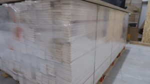 Plasterboard strips on pallet